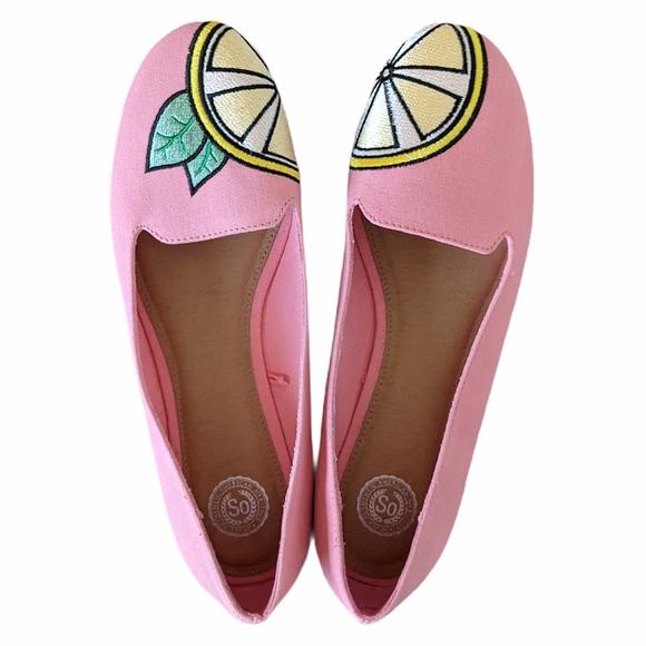 SO Women's Lemon Ballet Flats pink size 10